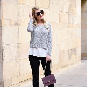 Gibson Mixed Media Layered Sweater Blouse Shirt